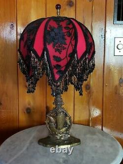 Victorian or Gothic Vintage Lamp w Amazing New Handmade Beaded Shade