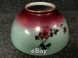 Vintage 14 Victorian Hand Painted Flowers Hanging Oil / Hurricane Lamp Shade