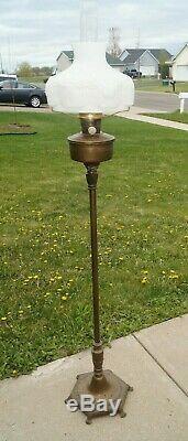 Vintage 1930s Era Aladdin Oil Floor Lamp With Aladdin Milk Glass Lamp Shade
