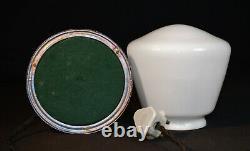 Vintage 1930s art deco chrome lamp veritas gas gallery dome design Opaline shade