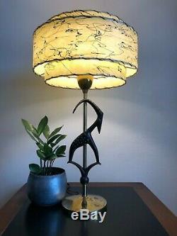 Vintage 1950s REMBRANDT Antelope GAZELLE Table Lamp FIBERGLASS SHADE Light MCM