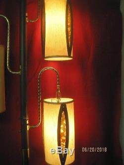 Vintage 1960's Pole Lamp 3 Teak & Linen Shades with plastic stained glass