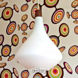 Vintage 1960s/70s Scandinavian White Art Glass Pendant Ceiling Light FREE UK P&P