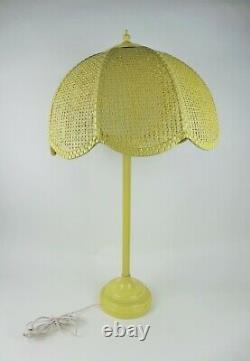 Vintage 1960s Yellow Green Metal Table Lamp Wicker Shade White Globe Mid Century