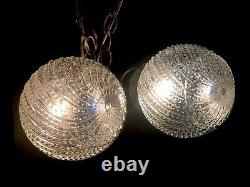 Vintage 1967 Double Swirl Glass Shade Swag Ceiling Light Lamp