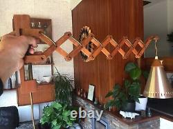 Vintage 1970s Danish Teak Scissor Wall Lamp with Original Shade Sax Le Klint