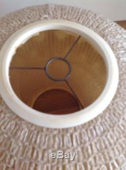 Vintage 1970s Lamp Shade Pair Wool Brown Cream Unused Retro