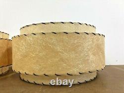 Vintage 3 Tier Lamp Shade Pair fiberglass 50s mid century modern round light set