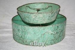 Vintage 50's Teal Turqoise Fiberglass Spaghetti 2 Tier Lamp Shade
