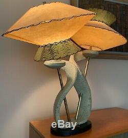 Vintage 50s Chalkware Lamp UFO Saucer Fiberglass Shades Mid Century Modern Rare