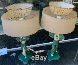 Vintage 50s Flamenco Chalkware Lamps Fiberglass Shades Mid Century Continental