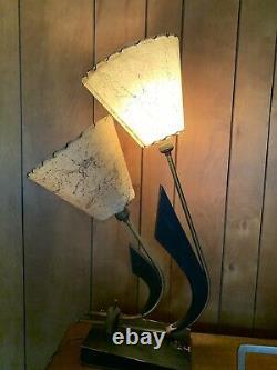 Vintage 50s MAJESTIC Lamp Fiberglass Shades Mid Century Modern Lighting Atomic