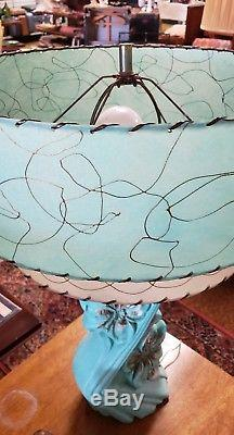 Vintage 50s Plaster Lamps Fiberglass Shades Mid Century Modern Atomic Era Pair