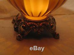 Vintage 70s BROWN BLOWN GLASS GLOBE, BRASS PATINA TABLE LAMP (no shade included)