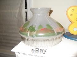 Vintage Aladdin Log Cabin Scenic Glass Lamp Shade