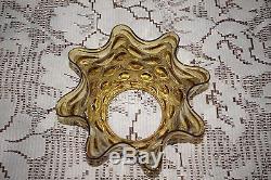 Vintage Amber Dot Glass Oil Lamp Shade Ruffled Rim 4 Base