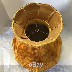 Vintage Antique 1930's Victorian Crushed Velvet Lamp Shade 16x19 Golden Brown