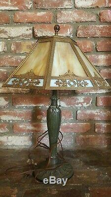 Vintage Antique A&R Co. Lamp With Slag Glass Shade
