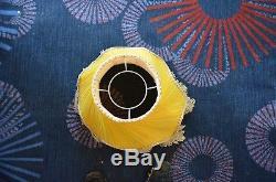Vintage Antique Chiffon Silk Tassels Standard Lamp Shade Gold Downton Yellow