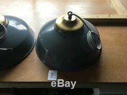 Vintage Antique Industrial Grey Enamel Factory Pendant Lamp Light Shade