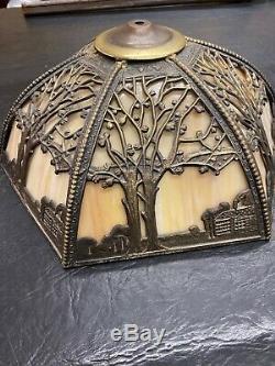 Vintage Antique Slag Glass Lamp Caramel Lampshade Only
