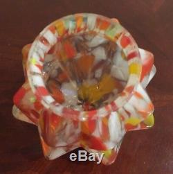 Vintage Art Deco Czech End of Day Splatter Art Glass Lamp Shade Globe