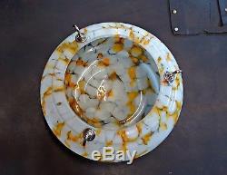 Vintage Art Deco Era Coloured Glass Flycatcher Hanging Ceiling Light Shade