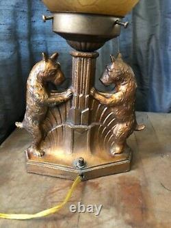Vintage Art Deco Scottie Dog Table Lamp with Glass Shade