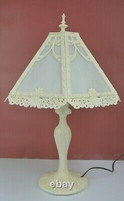 Vintage Art Deco Slag Glass Panel Shade Boudoir Table Lamp Fully Restored