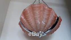 Vintage Art Deco Style Pink Clam Shell Ceiling Light