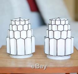 Vintage Art Deco White Milk Glass And Black Skyscraper Glass