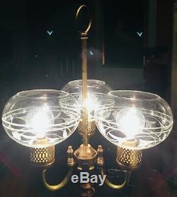 Vintage Art Nouveau Bouillotte Table Lamp Etched Glass Shades