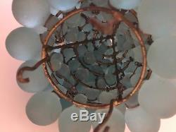 Vintage Art Nouveau Czech Glass Grape Cluster Fruit Figural Lamp Shade BLUE