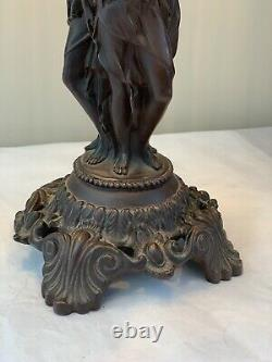 Vintage Art Nouveau The Three Graces Figural Lady Lamp Beaded Shades Victorian