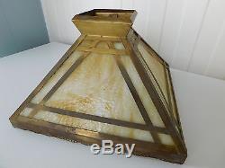 Vintage Arts Amp Crafts Mission Slag Glass Brass Antique