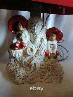 Vintage Asian-Oriental Chalkware Lamp w RED Venetian-Tin Tiered Shade