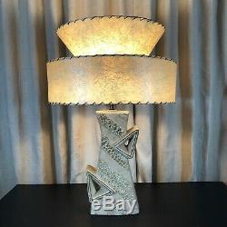 Vintage Atomic Ceramic Lamp with Fiberglass Shade Mid Century 1950's Leslie China