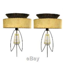 Vintage Atomic Mid Century Lamps 2 Tier Fiberglass Shades Weinberg Gambone 1950s