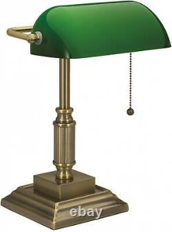 Vintage Bankers Desk Lamp With Green Glass Shade Student Antique Piano Table Light