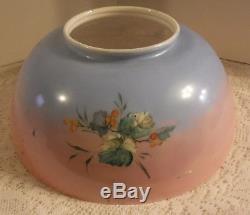 Vintage Blue Pink Floral Victorian Kerosene Oil Hanging Library Lamp Shade 14