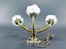 Vintage Brass Candelabra Wall Sconce Lamp Frosted Glass Flower Tulip Shades 8111