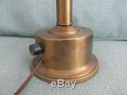 Vintage Brass Double Arm Student Table Lamp with Red Tole Tin Shades- Excellent