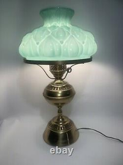Vintage Brass Hurricane Lamp Green Milk Glass Quilted Shade 20 Tall