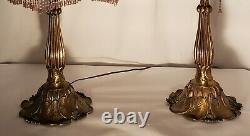 Vintage Brass Lamp With Glass Slag Shade