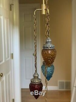 Vintage Brass Retro Swag Chandelier Lamp Glass Grape Cluster Shade