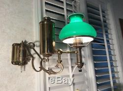 Vintage Brass Wall Armed Student Oil Lamp Green Glass Shade