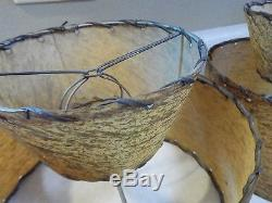 Vintage Brown Fiberglass Lamp Shades 9