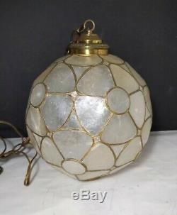 Vintage Capiz Shell Floral Shade Hanging Lamp/Light Ball Swag Mid Century Modern