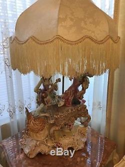 Vintage Capodimonte Cherub Lamp With Crochet Fringed Lamp