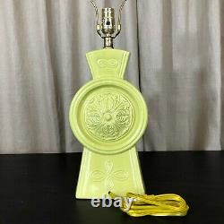 Vintage Ceramic Lamp with Fiberglass Shade Chartreuse Mid Century Atomic Retro MCM